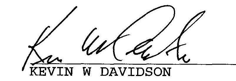 Kevin W Davidson signature