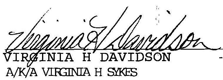Virginia H Davidson signature