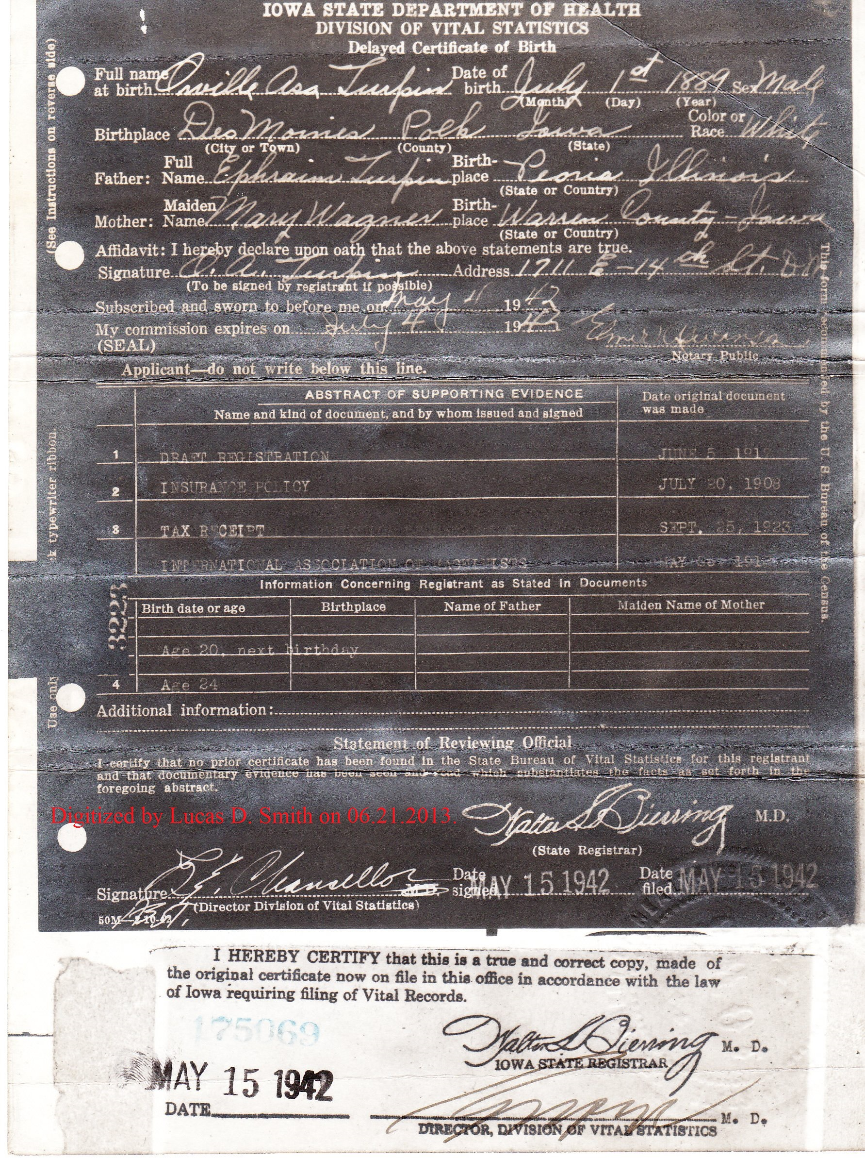 The Weekend Birth Certificate Review Orville Asa Turpin Born July