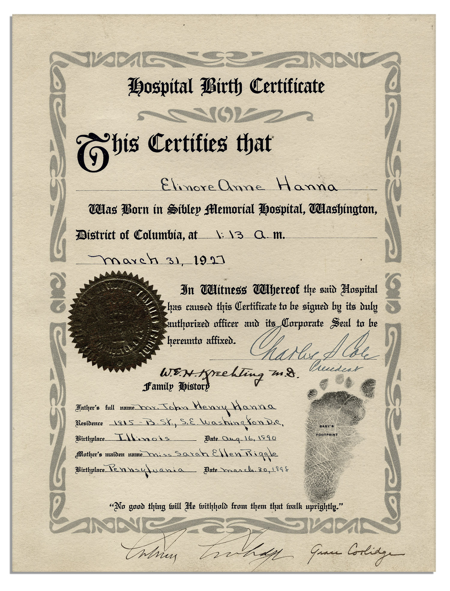 President Of The United States Of America Signs Birth Certificate