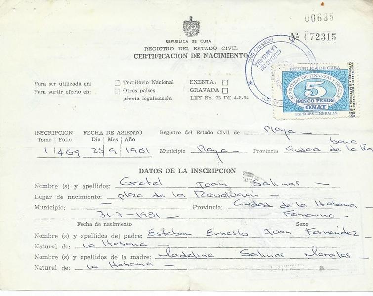 The Weekend Birth Certificate Review: Republic of Cuba (Republica de ...
