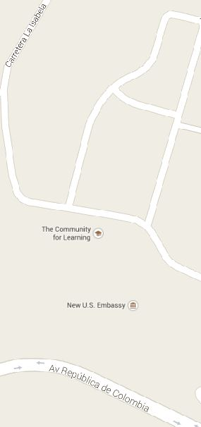 map of new US Embassy and new US Consulate in the Dominican Republic Avenida de Colombia and Carretera La Isabela
