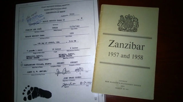 zanzicar report with Obama Kenya birth certificate