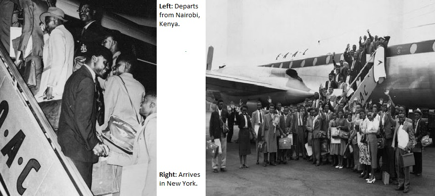 Nairobi Kenya to New York United States 1959 African student airlift Tom Mboya pictures Obama - Copy