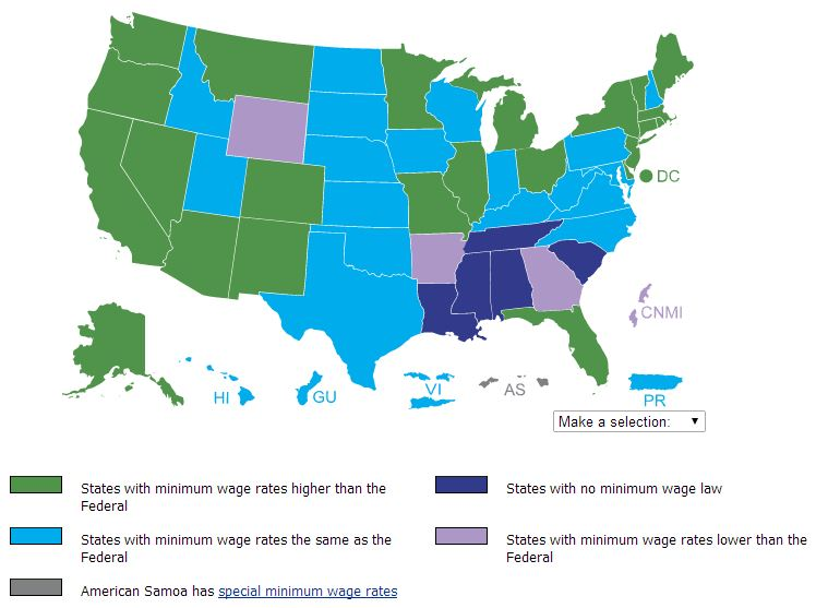 a history of the minimum wage law in the united states Find a list of the federal and state minimum wage rates in the united states,  day in history videos  the federal law some minimum wage rates in this table .