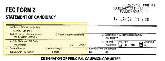 Mary Landriue Statement of Candidacy January 31 2041 eligibility issue Obama