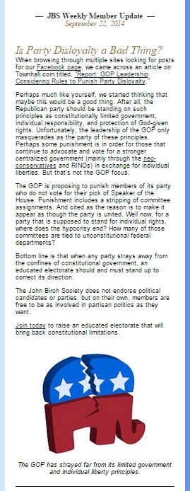 Is Party Disloyalty a bad thing John Birch Society September 2014 John Boehner Republican