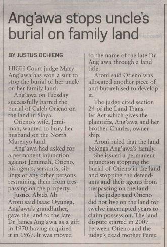 James Angawa Kenya land dispute Mary Angawa Barack Obama birth doctor