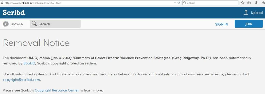 USDOJ Memo 2013 Summary of Select Firearm Violence Prevention Strategies Greg Ridgeway Ph.D.
