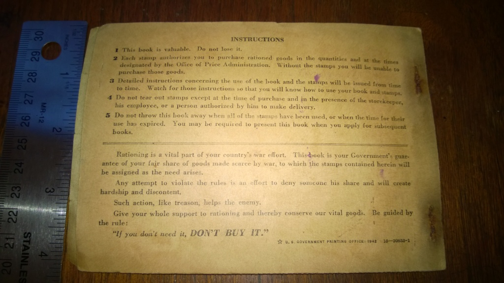 war ration book two back world war 2