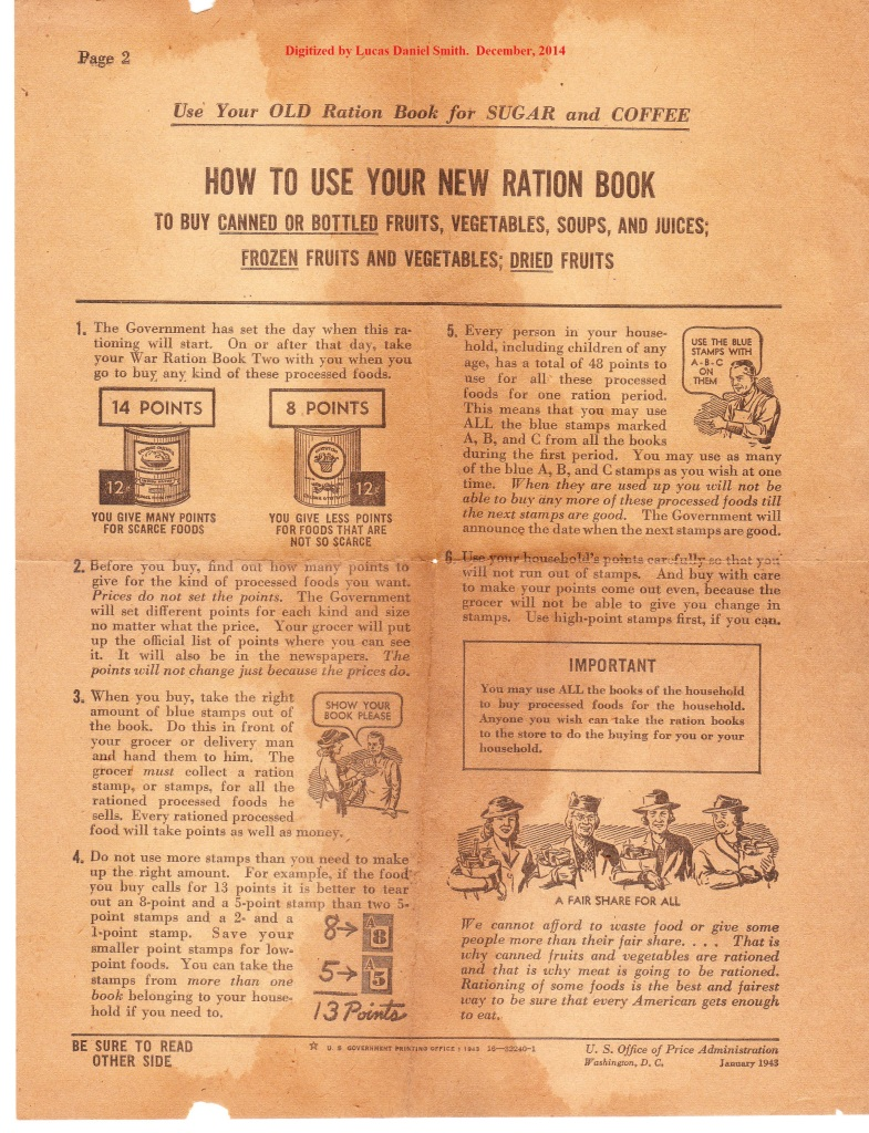 war world 2 ration book instructions 1943 page 2