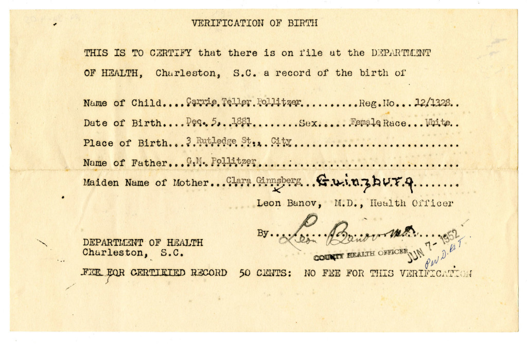 Birth Certificate South Carolina 1881