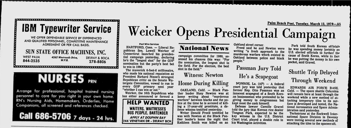 Lowell Weicker presidential candidate 1980