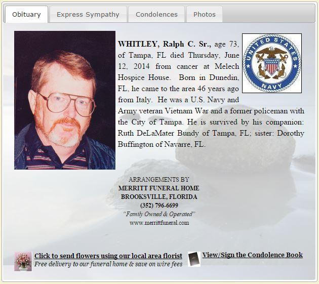 Ralph Charles Whitley Sr Ruth DeLaMater Bundy